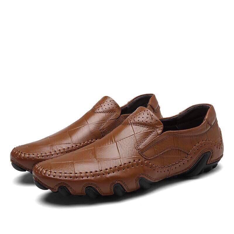 Giày lười da bò nam cao cấp, đế cao su độc đáo – G131