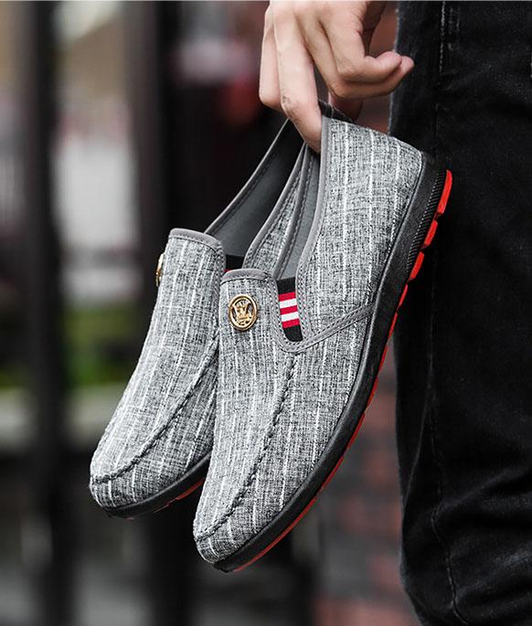 Giày lười kẻ nam – giày vải, đế cao su form ôm, đi êm – G132
