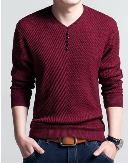 Áo len nam cổ tim, mềm, nhẹ, 2 màu đen – đỏ – AL36