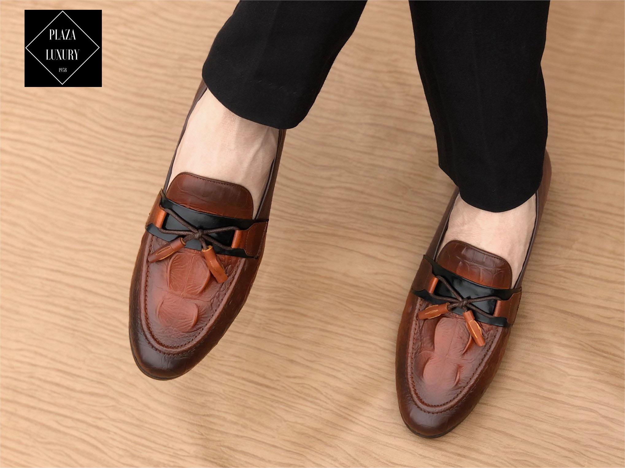 Giày lười da nam dập vân, mũi nhọn, đế cao su – GD04